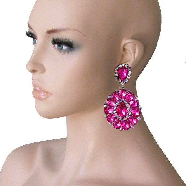 """3.25"""" Long Cluster Clip On Earrings, Fuchsia Pink Rhinestones,Drag Queen,Pageant"""
