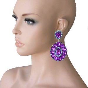 325-Long-Cluster-Clip-On-Earrings-Teal-Blue-Rhinestones-Drag-Queen-Pageant-172857805638