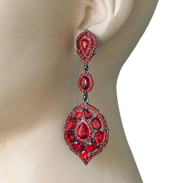 """3.25"""" Long Red Rhinestones & Glass Vintage Inspired Evening Earrings, Pageant"""