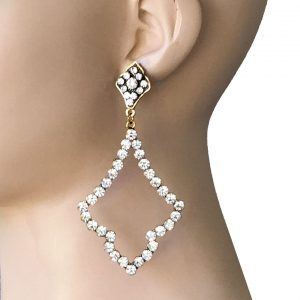 375-Long-Gold-Tone-Statement-Earrings-Clear-Rhinestones-Pageant-Hip-Hop-362007785758