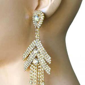 45-Long-Gold-Tone-Clear-Rhinestone-Statemet-EarringsPageantDrag-QueenBridal-362043013068