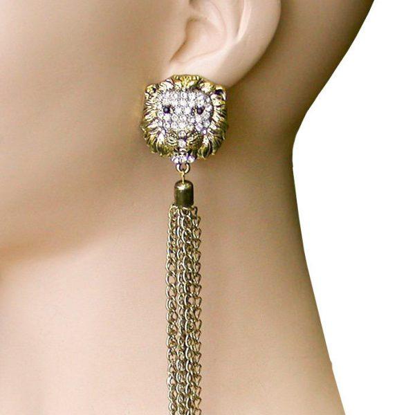"5.5"" Long Post Style Tassel Linear Earrings, Lion Face, Drag Queen, Hip Hop"