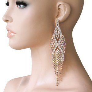 6-Long-Gold-Tone-EarringsAurora-Borealis-Crystals-Pageant-Bridal-Drag-Queen-172527407168