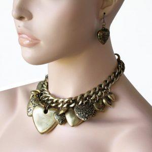 Classic-Elegant-Charmed-Heart-Choker-Necklace-Earrings-Set-Antique-Gold-Tone-361556134628