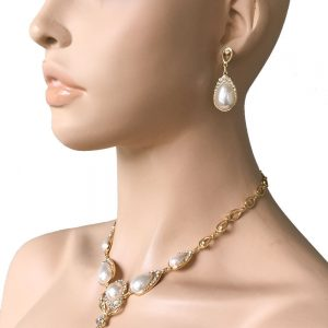 Classic-Faux-Pearl-Cabochon-Rhinestone-Necklace-Earrings-Set-Pageant-Bridal-362044170758