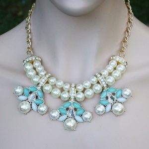 Designer-Inspired-Necklace-Earrings-Cream-Faux-Pearl-Mint-Crystals-Lucite-172309743758