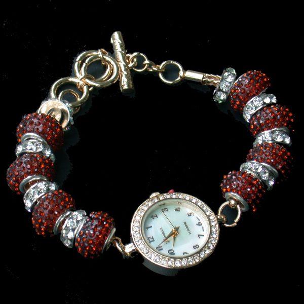 Hundreds of Small Brown Crystals Watch Toggle Bracelet, Geneva Platinum Brand