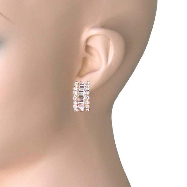 Hypoallergenic Huggie Clip-On Earrings, Clear Crystals, Gold Tone, Pageant, Prom