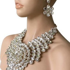 Luxurious-Heavy-Statement-Necklace-Earring-Clear-Crystals-Drag-Queen-Pageant-172753593368