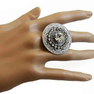 Mandala-Round-Adjustable-Cocktail-By-Clara-Beau-Clear-Crystals-Made-In-USA-361849659398