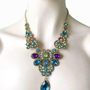 Multicolor-Rhinestones-Antique-Gold-Tone-European-Style-Statement-Bib-Necklace-361920242018