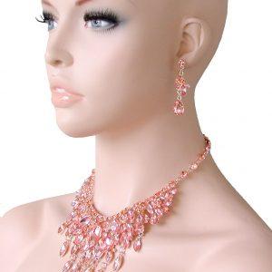 Peach-Glass-Bib-Statement-Evening-Necklace-EarringsPageant-Drag-Queen-Bridal-172438276468