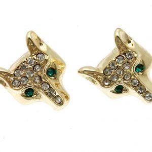 Penny-Size-Little-Fox-Stud-Earrings-Clear-Green-Crystals-For-Pierced-Ears-172857813398