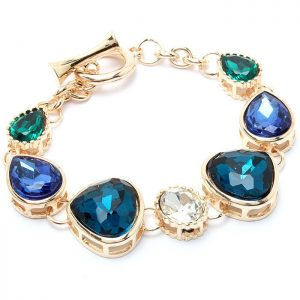 Shades-of-Blue-Green-Clear-Glass-Crystal-Beads-Gold-Tone-Toggle-Bracelet-361518863788