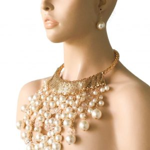 Statement-Heavy-Bib-Faux-Pearl-Necklace-Earrings-Glass-Beads-PageantDrag-Queen-362014162858