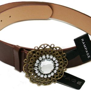Vegan-Brown-Faux-Leather-Belt-Gold-Tone-Filigree-Buckle-Size-ML-by-Rampage-362067096928