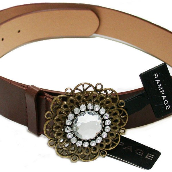 Vegan Brown Faux Leather Belt, Gold Tone Filigree Buckle, Size ML, by Rampage