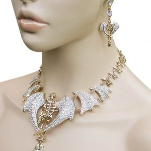 Winged-Skeleton-Necklace-Earrings-Set-Clear-Crystals-Chic-Punk-Drag-Queen-172831413898