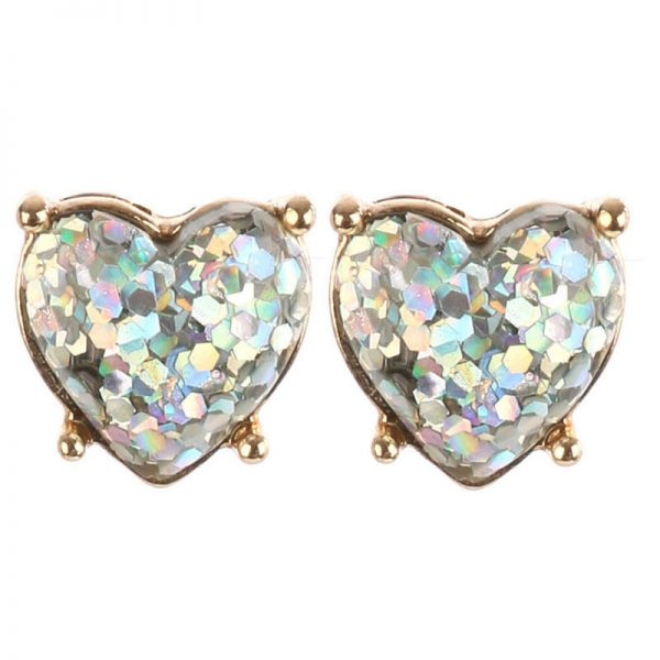 "0.5"" Drop Aurora Borealis Glittered Heart Post Earrings, Bridal, Pageant"