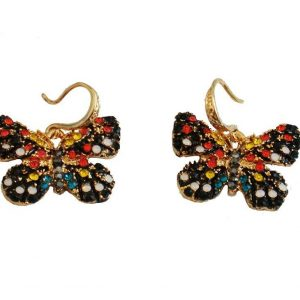 1-Drop-Black-Multicolor-Rhinestone-Insect-Butterfly-Earrings-Bright-Gold-Tone-171826398559