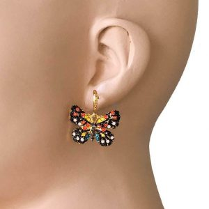 1-Drop-Black-Multicolor-Rhinestone-Insect-Butterfly-Earrings-Bright-Gold-Tone-172757550519