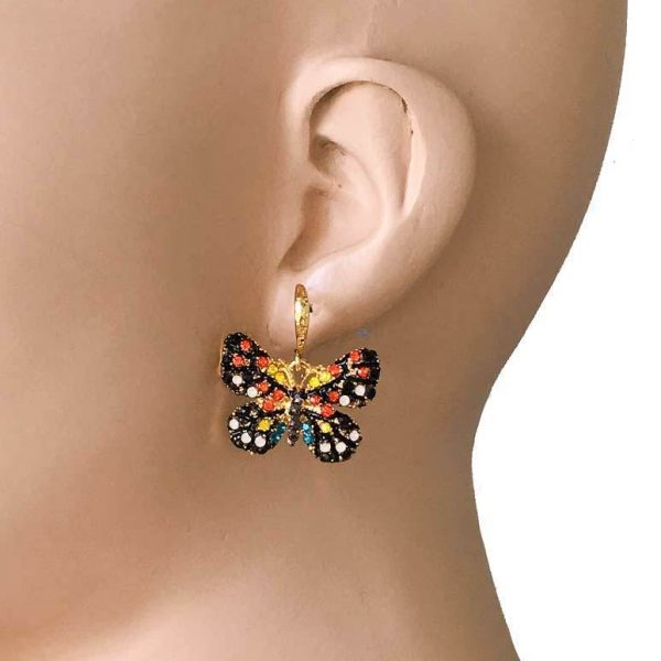 "1"" Drop Black & Multicolor Rhinestone Insect Butterfly Earrings Bright Gold Tone"