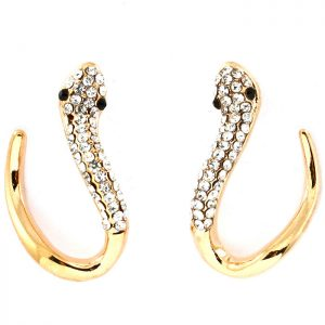 1-Drop-Gold-Tone-Clear-Crystals-Post-Hoop-Snake-Earrings-Animal-Jewelry-361415318339
