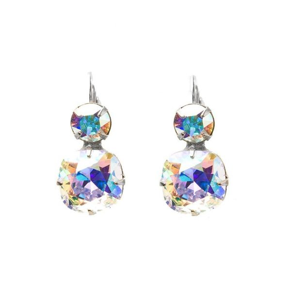 "1"" Drop Silver Tone Aurora Borealis Crystal Earrings By Sorrelli,Pageant, Bridal"