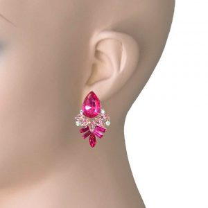 115-Drop-Post-Earrings-Fuchsia-Pink-Light-Rose-Acrylic-Rhinestones-Beads-361912457019