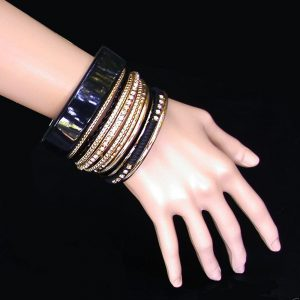 12-Stackable-Bangle-Bracelets-Set-Gold-tone-Black-Lucite-Rhinestones-Vegan-171875024829