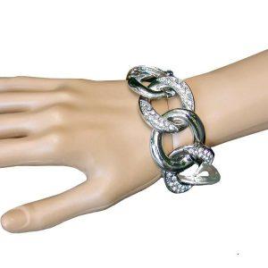 125-W-Clear-Rhinestones-Designer-Inspired-Chain-Bracelet-Silver-TonePageant-362063134969
