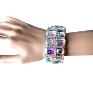15-Wide-Aurora-Borealis-Glass-E-Crystals-Stretch-Bracelet-Drag-Queen-Pageant-362022024799