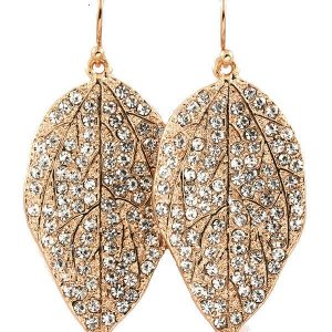 175-H-Leaf-Shape-Clear-Crystals-Earrings-Pierced-Hook-Style-Pageant-Bridal-360715473479