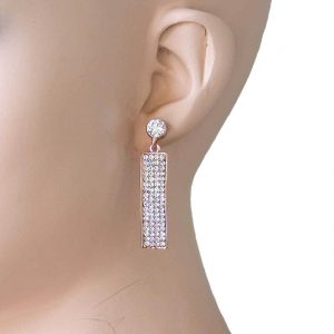 175-Long-Clear-Crystals-Linear-Earrings-Gold-Tone-Pageant-Bridal-Prom-361784942389