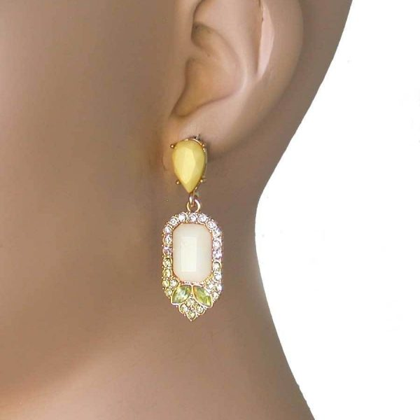 """1.75"""" Long Yellow & Beige Lucite Beads, Lime Crystals Post Earrings, Pageant"""
