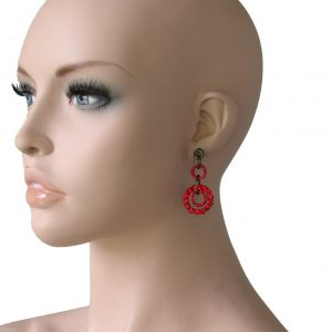 2-Drop-Cranberry-Red-Crystals-Gunmetal-Finish-Hoop-Earrings-Pierced-Ears-172160507499