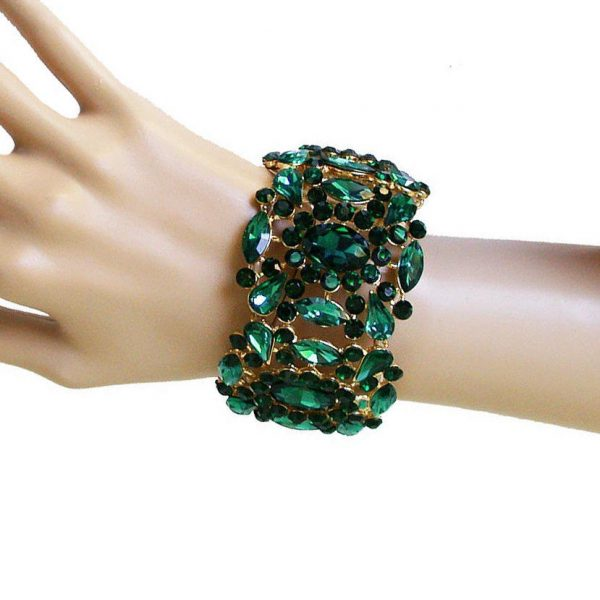 "2"" Wide Green Acrylic Rhinestones Stretch Bracelet, Drag Queen, Pageant, Bridal"