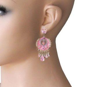 225-Long-Bohemian-Chandelier-Earrings-Rose-Pink-Enamel-Rhinestones-362036750689