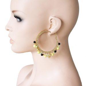 25-Drop-Charmed-Hoop-Earring-Yellow-Glass-Faux-Pearl-Hip-Hop-Drag-Queen-361580944619