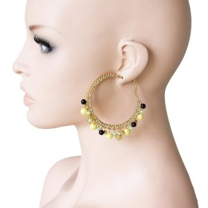 25-Drop-Charmed-Hoop-Earring-Yellow-Glass-Faux-Pearl-Pageant-Drag-Queen-361580944619