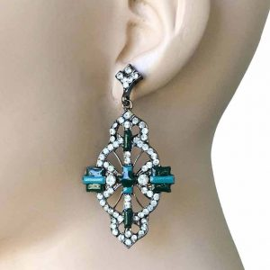 25-Long-Deco-Inspired-Green-Enamel-Clear-Rhinestones-Bridal-Pageant-362026183979