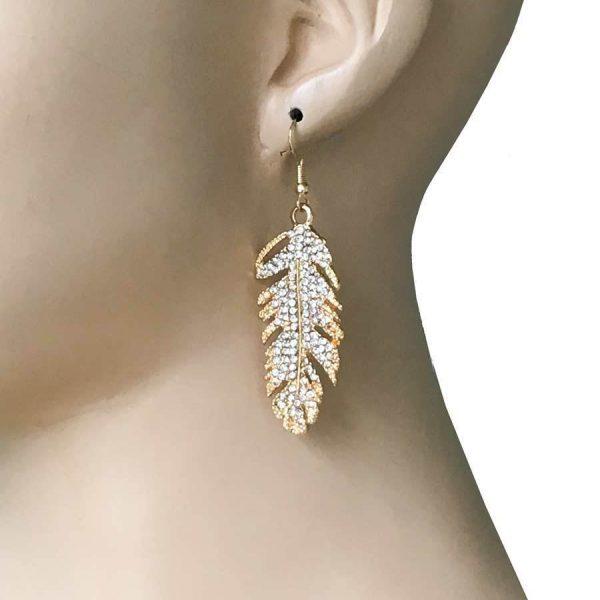 """2.5"""" Long Golden Metal Feather Earrings, Clear Rhinestones, For Pierced Ears"""