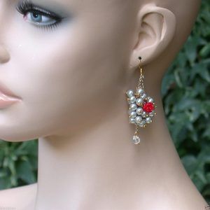 25-Long-Light-Gray-Faux-Pearls-Vine-Earrings-Red-Acrylic-Rose-Detail-Bridal-171872407239
