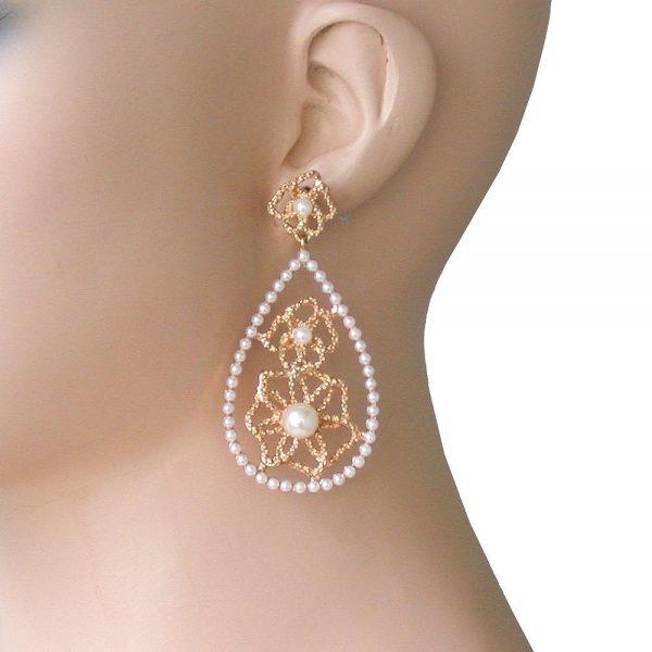 """2.75"""" Long White Faux Pearls Hoop Earrings, Bridal, Pageant, Drag Queen"""