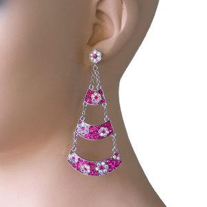 3-Long-Fuchsia-Pink-Aurora-Borealis-Crystals-earrings-Pageant-Drag-Queen-172379834839