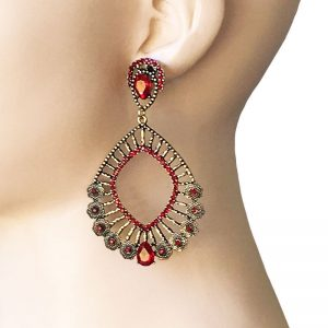 325-Long-Antique-Gold-Tone-Red-Rhinestones-Hoop-Earrings-BOHO-Hip-Hop-172616330809
