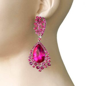 325-Long-Evening-Earrings-Fuchsia-Pink-Rhinestones-Pageant-Drag-Queen-362023927789