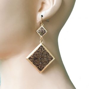 325-Long-Gold-Tone-Brownish-Metal-BOHO-Filigree-EarringsDrag-Queen-Pageant-172600540269