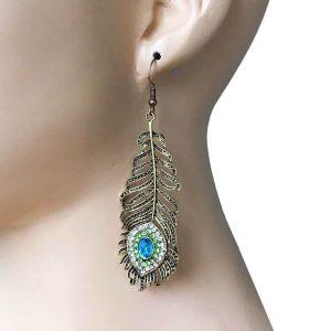 35-Long-Metal-Peacock-Feather-Earrings-Turquoise-Blue-Green-Rhinestones-172570377779