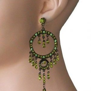 35-Long-Shades-Of-Green-Rhinestones-Bohemian-Hoop-Chandelier-EarringsPageant-362102023359